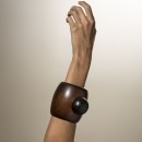 lacquered hardwood cuff bracelet with elements of ebony and silver