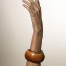 unusual vintage briar root cuff bracelet, edged in root bark