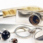 Silver, horn, briar root, ebony and bone letter openers, cash clip, key ring, cufflinks and tie tacks.