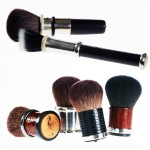 Natural hair make-up brushes include silver, reptile skin, horn, ebony and briar root handles.