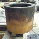 charred wood pot