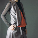 katrin schnabl look 12  MONTEREY vest dress black glossy T top charcoal V legging orange O tube steel paired with